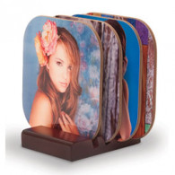 Personalized Coaster set w/wood base